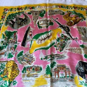 Vintage style souvenir map scarf, unknown fabric